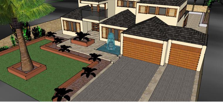 私家花园庭院庭院景观设计模型-场景三