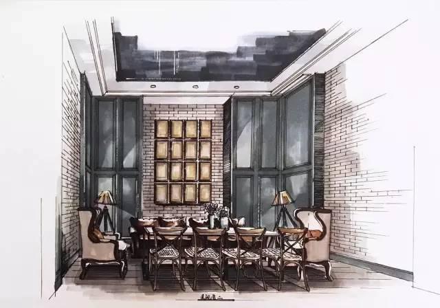 室内手绘 室内设计手绘马克笔上色快题分析图解_39