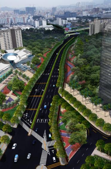 [广东]雪岗北路大和路景观方案设计(PDF+81页)-鸟瞰