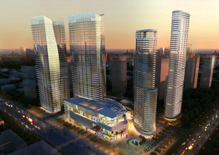 [广东]佛山超大型现代风四塔楼组群城市综合体设计方案文本(PDF)