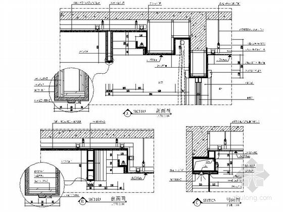 [安徽]奢派港湾小区简欧三居室样板房装修施工图大样图