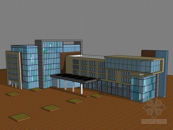 低层办公建筑SketchUp模型下载