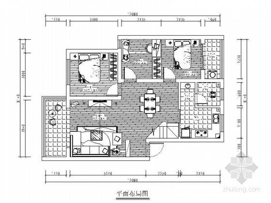 [长沙]雅致欧式风格两居室样板房装修图(含实景图)