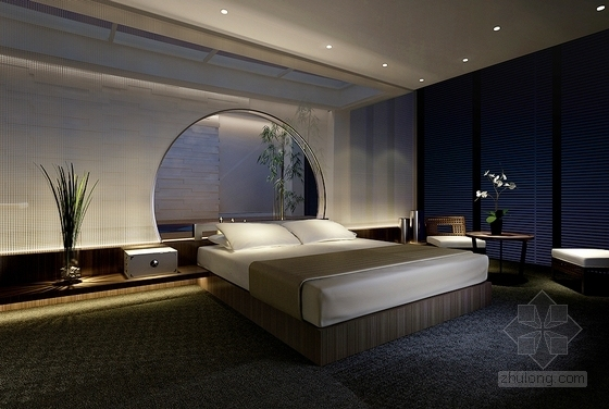 [无锡]独具特色现代中式四居室装修设计方案图主卧睡房效果图