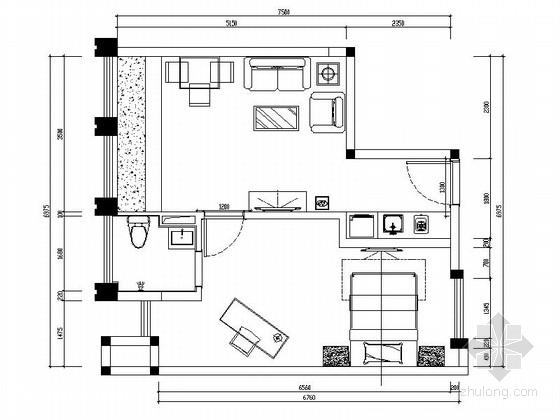 [广东]国际公寓C户型现代一居室装修施工图