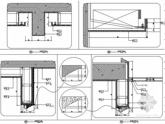 现代中式会所书吧装修施工平节点图