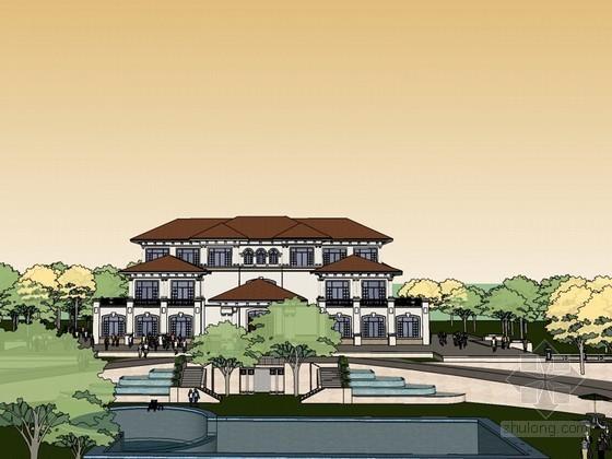 欧式豪华会所建筑SketchUp模型下载