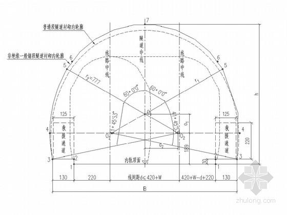 [四川]铁路复合式衬砌双线隧道锚段衬砌施工图470张(有砟无砟 知名大院)