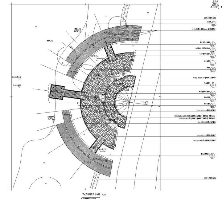 [武汉]高档居住区附属滨湖公园景观工程施工图-节点四物料索引平面图