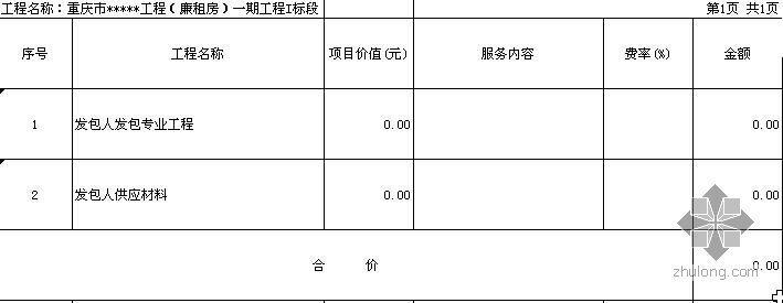 重庆市某住宅楼工程(廉租房)建安工程清单报价书(采用08清单)(2009)