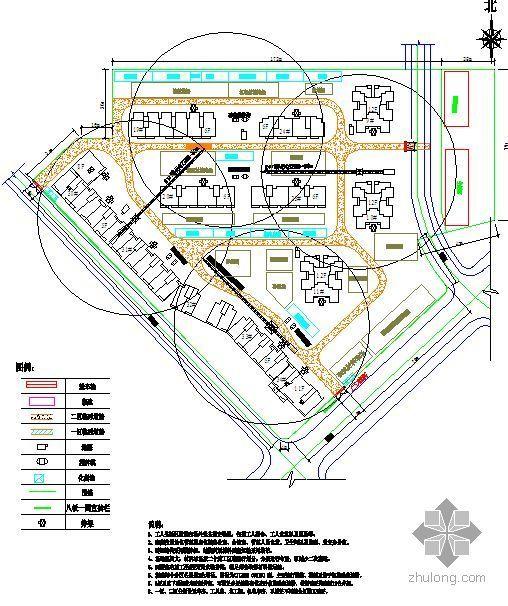 天津某住宅施工现场平面布置图汇编