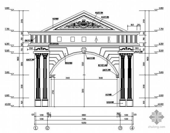 某古典欧式小区大门建筑施工图