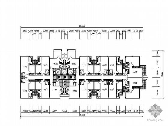 一梯四户小户型公寓平面资料下载-塔式高层一梯十六户公寓户型图