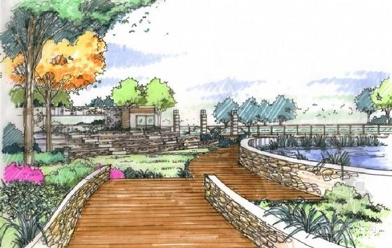 [陕西]高级别墅景观设计概念方案-次入口亲水平台