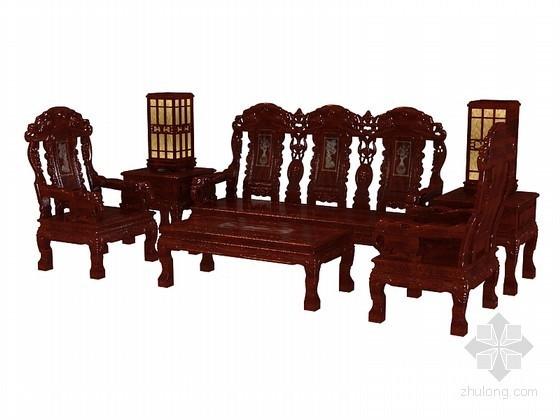 木质沙发3D模型下载