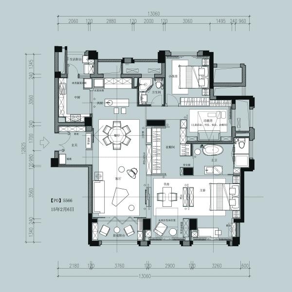 一个150m²平层户型16组室内设计方案-6