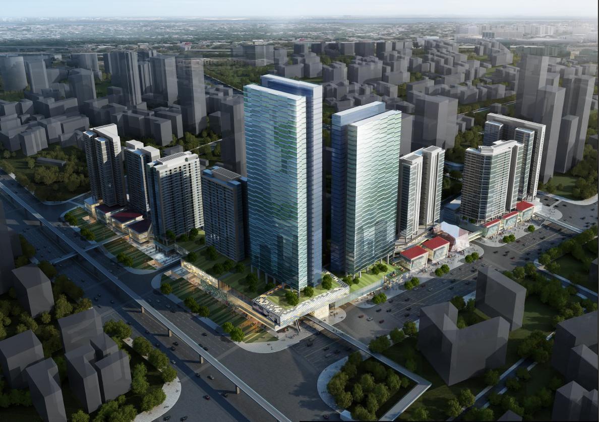 高层立面效果图-高层横向线条立面城市综合体建筑设计方案文本