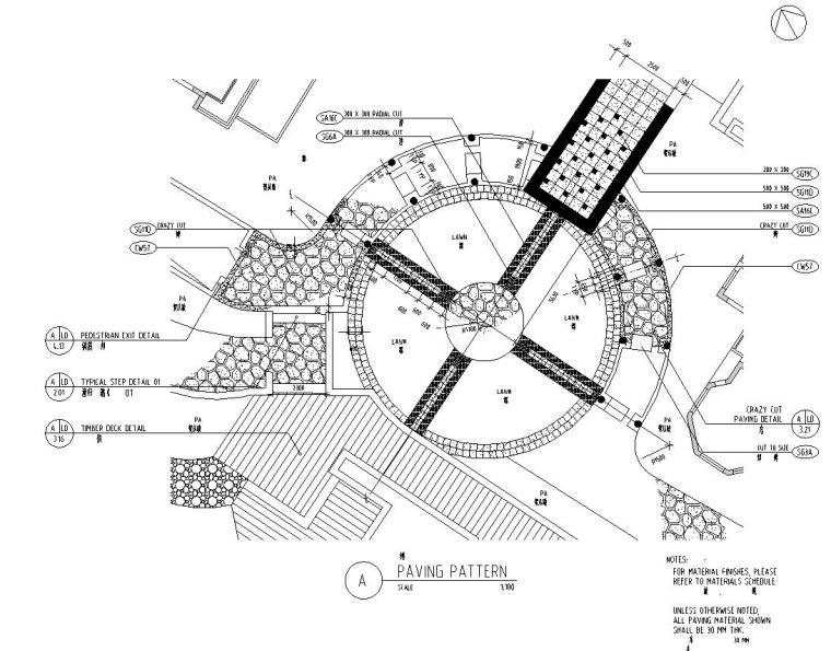 [四川]成都知名地产名城某居住区景观设计全套施工图(包含+植物配置)-铺装设计图
