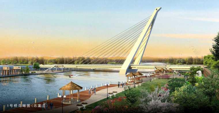 [陕西]跨河桥设计方案图30张(附效果图28张,文本11页)