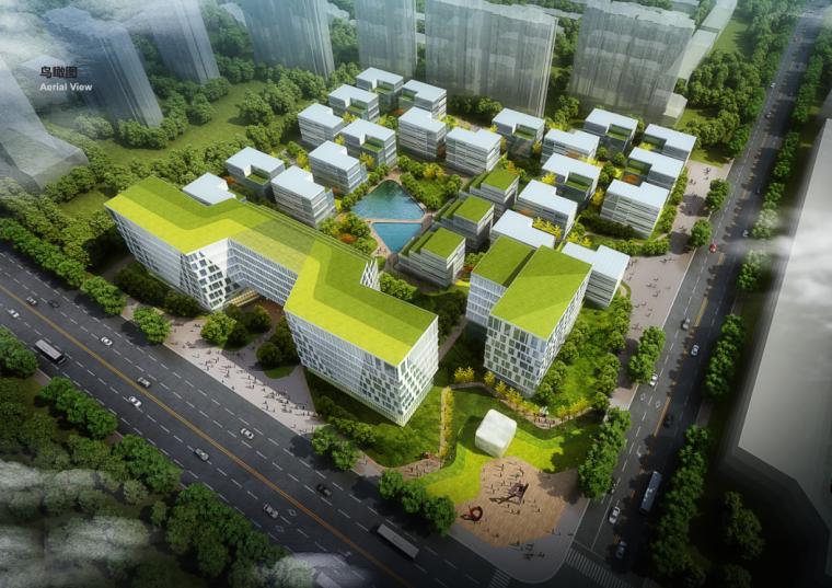 [上海]绿地现代风格独栋企业办公楼建筑设计方案文本