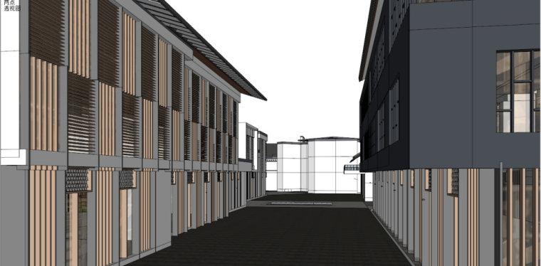 新中式商业街建筑模型设计(su模型)