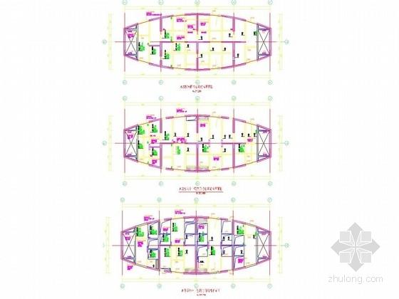 A塔楼六十一层~屋面核心筒结构平面图