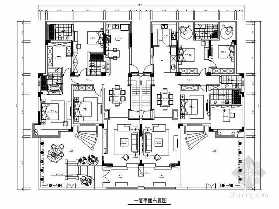 [常熟]高层住宅区现代简约三居室样板间装修施工图(含效果)