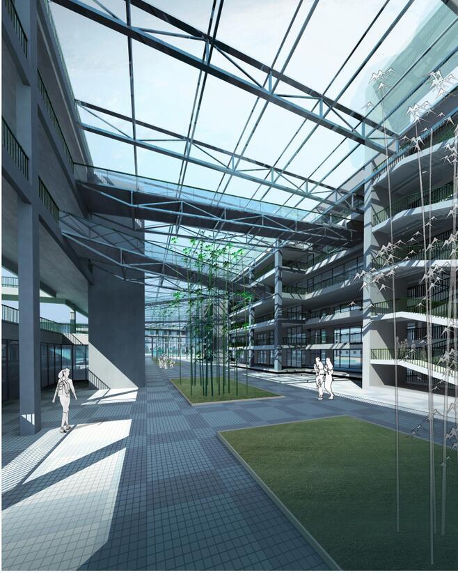 [浙江]杭州某市场中学建筑设计方案文本(效果图+SU+CAD)-效果图1