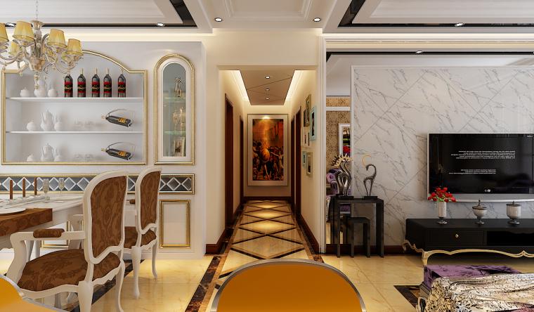新东名苑120平欧式风格杭州金尚装饰设计师吴奔腾