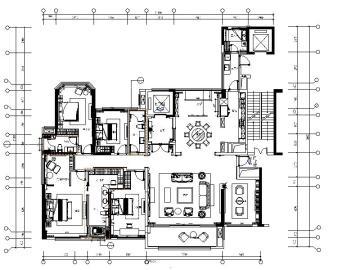 [广东]古典邂逅现代的高端住宅室内设计施工图(含实景图)