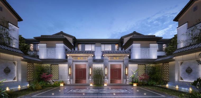 中式豪宅别墅独栋合院建筑模型设计(2018年)