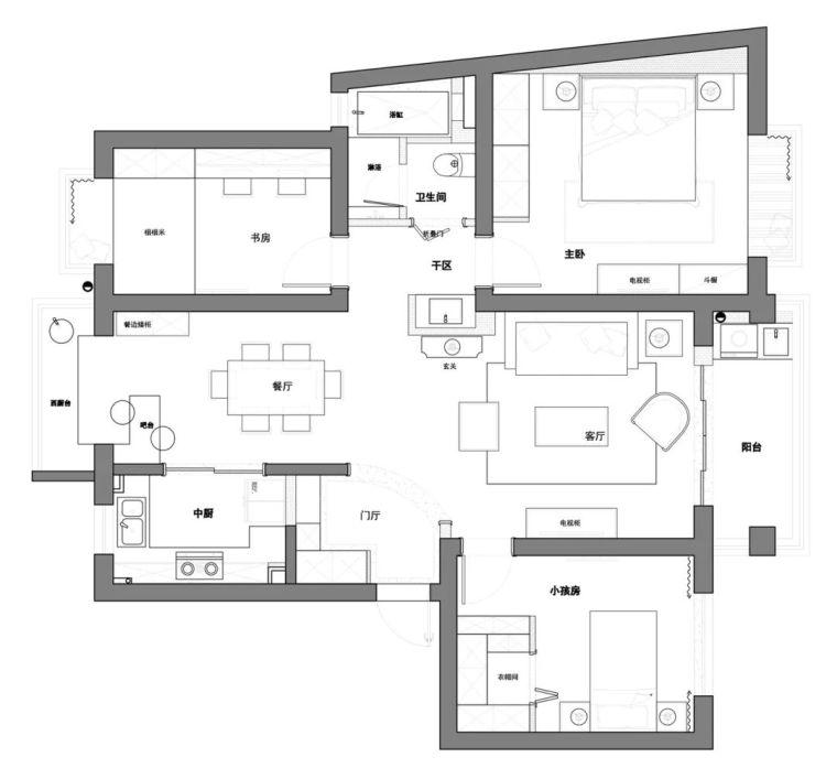 小清新的123平现代美式风三居室,轻松又舒适的家