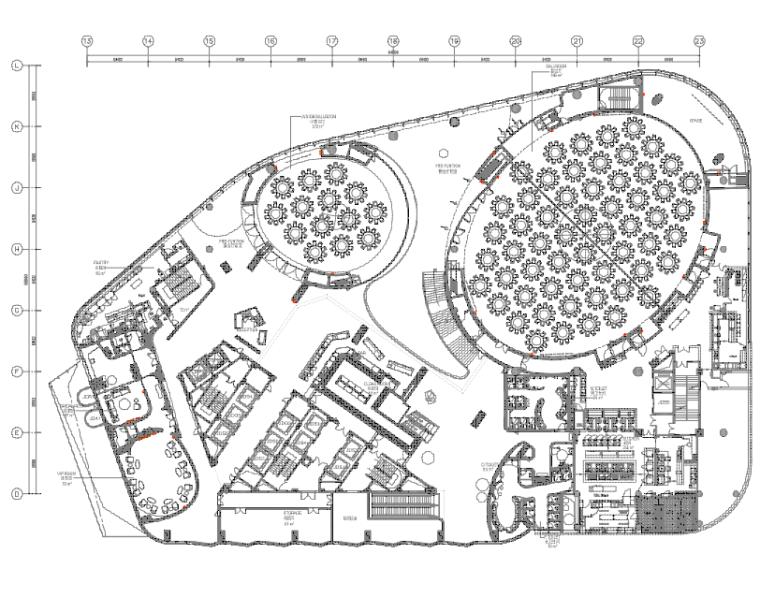 [陕西]君悦特色酒店公区设计施工图+效果图-2三层平面布置图