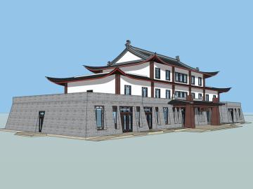 游客接待中心sketchup模型下载