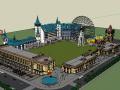 法式商业街带摩天轮建筑SU模型
