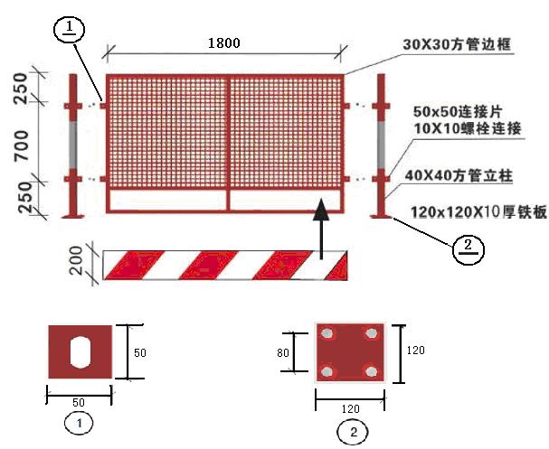 房建及隧道工程安全文明标准化工地建设实施手册(word,85页)-定型化防护栏现场制作尺寸