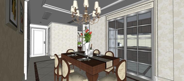 室内设计简欧风格客餐厅SU模型-12.餐厅