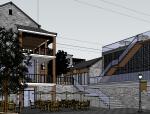 沿河古建改造商业街建筑SU模型