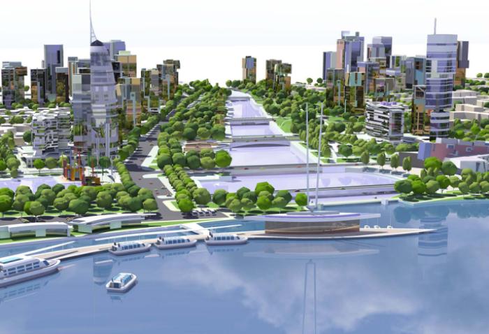 [江苏]滨水景观长廊绿色新城生态城市规划设计方案