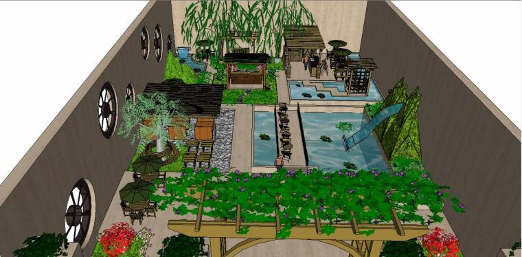 中式风格精致庭院设计(SU模型)