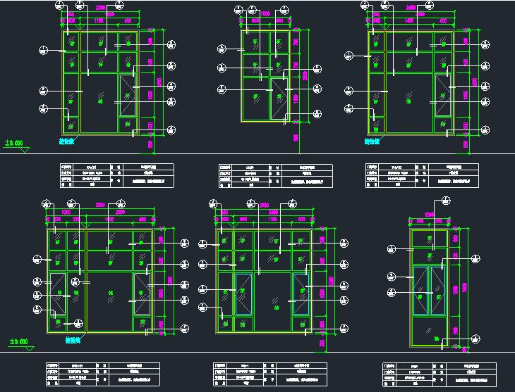 各种铝合金玻璃门窗及大样节点图_1