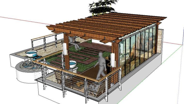 小庭院景观模型廊架设计-场景三