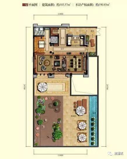 万科罕见的270㎡5房6卫双拼户型,庭院高达228㎡_6