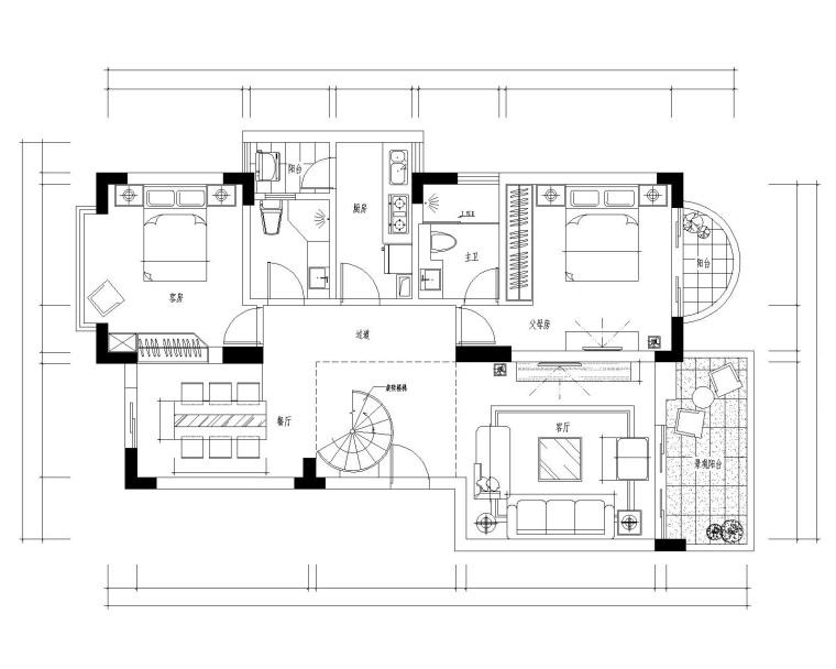 [福建]某复式现代风格别墅施工图及效果图