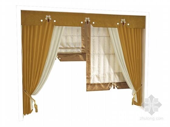 黄色窗帘3D模型下载
