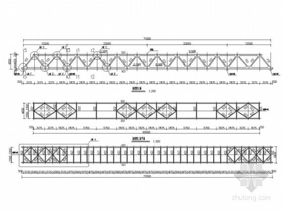 钢桁架人行天桥结构施工图