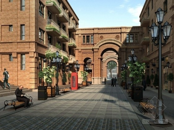 [天津]城市核心区著名英式风情五大院居住区景观设计方案