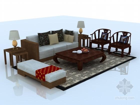 中式沙发茶几3D模型下载