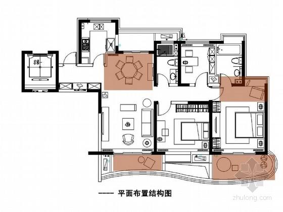 [湖州]精装修卡地亚风情三室两厅样板房软装设计方案