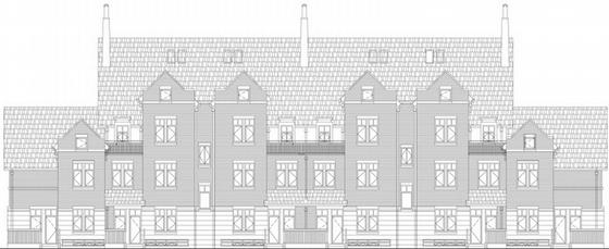 [福建]欧式Tudro风格住宅小区景观设计方案(知名设计所)-别墅立面图